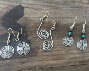 Round Spiral Wire Earrings | Circular Spiral With Round Bead(s) | Drop Earrings | Handmade Wire Jewelry | Metal | White & Blue Flowers |