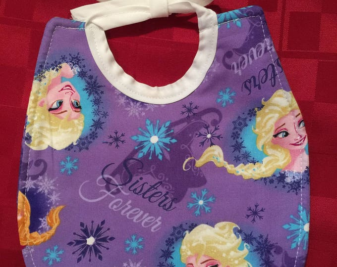 """Baby Bib Anna and Elsa, Olaf Characters """"Frozen"""" Print Fabric, Available in 8 Different Fabric Designs"""