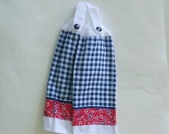 Crochet Tea Towels, Kitchen Decor, Topper Towels, Blue, Crochet Towels, Hanging Towels, Button Top, Dish Towels, Crochet Top Tea Towels