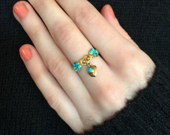 Victorian Turquoise Flower Ring With Turquoise Heart Dangle And Lover's Knot