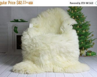 ON SALE Christmas Collection - Real, Natural, Genuine Creamy White Sheepskin Rug Scandinavian Design - 3 SIZES!