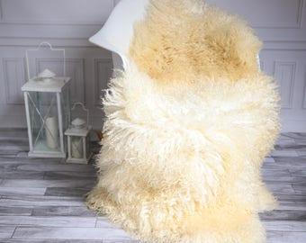Genuine Rare Gotland Sheepskin Rug - Curly Fur Rug - Natural Sheepskin - Beige Sheepskin #GOTWES9
