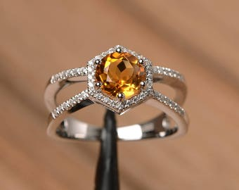 natural citrine ring wedding ring sterling silver ring round cut yellow gemstone November birthstone ring
