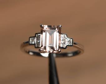 natural pink morganite ring morganite engagement ring emerald cut pink gemstone sterling silver