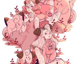 Fairy girl gang A5 art print - Pokemon gijinka - pastel fashion