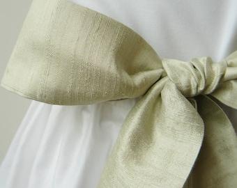 Handloom Silk Dupion Wedding Sash for Flowergirl - Pistachio
