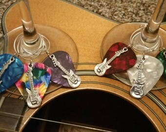 Guitar pick wine glass charms, wine glass markers, housewarming gifts