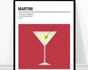 Martini Print, Cocktail Art Print, Cocktail Recipe Print, Alcohol Print, Martini Recipe