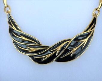 MONET - 1980s Gold Plated Black Enamel Bib Necklace