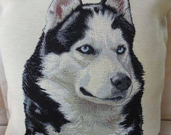 Handmade Husky Dog Tapestry Cushion Cover - Free Shipping