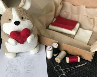 Hand-Dyed Organic Fabric Kit for Quigley the Corgi Plush