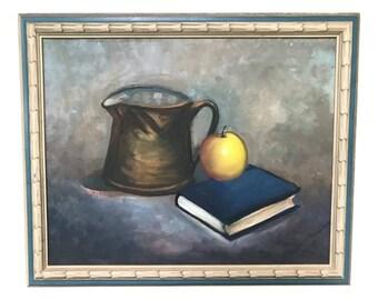 Still Life Paintings | Fruit Paintings | Original Art | Mid Century Painting | Copper Kettle | Blue Tone