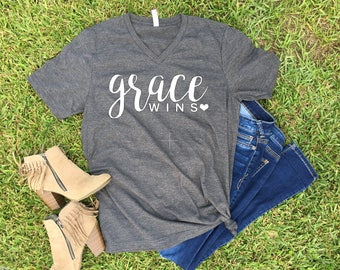 Grace Wins -- Religious Scripture Bible Christian Statement Graphic Tee -- SALE