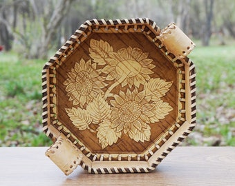 decorative tray, serving tray, birch bark, tray for fruits, bread, for home, gift for wife, wood plate, hand carved plate, personalized
