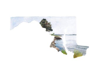 Maryland Art Print - Chesapeake Bay Art - Maryland Landscape Painting - Maryland Gift - Maryland Map - Maryland Watercolor - Annapolis Print