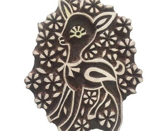 Deer Stamp Hand Carved Stamp Indian Wood Stamp Wood Block Stamp