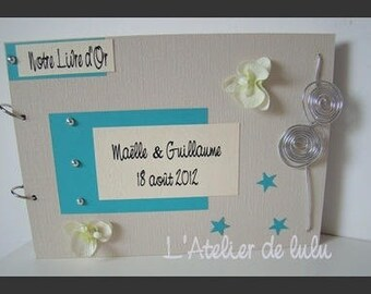 Guest book keepsake wedding orchids and stars