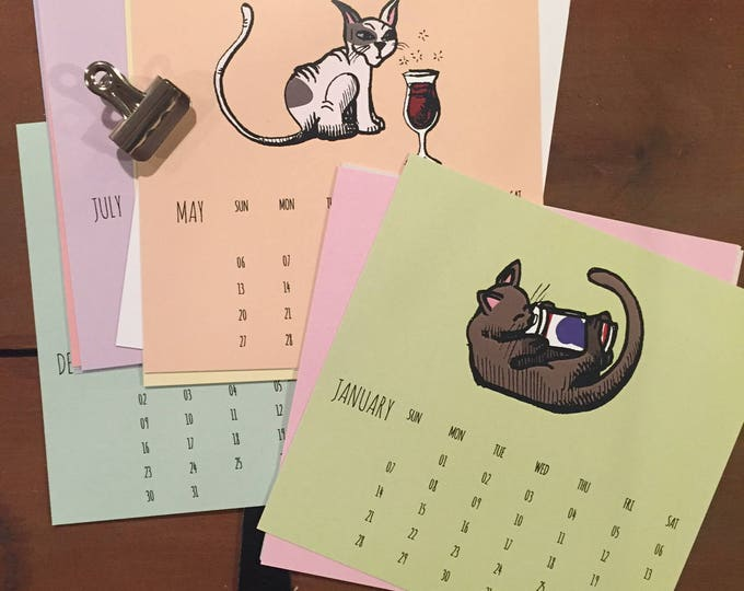 Featured listing image: 2018 Cats and Beer Calendar / 6x6