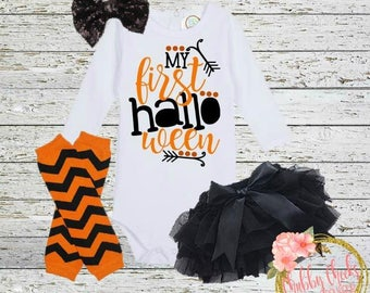 baby girls first Halloween outfit- my first halloween- halloween set- black and orange- girls halloween outfit- halloween tutu set