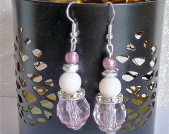 Earrings ' Silver earrings 925 Silver with Pink Pearl and swarovski crystal rondelle