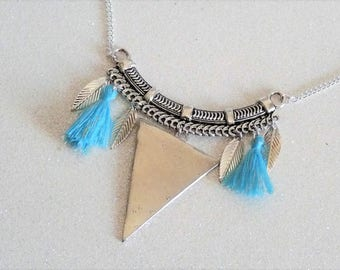 Your turquoise with tassels and charms, arrow triangle bib necklace