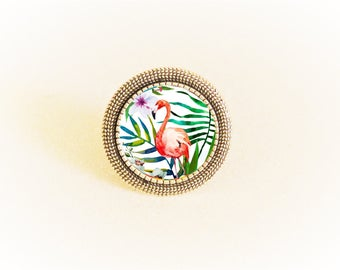 Adjustable silver ring and cabochon pattern pink Flamingo and tropical flowers
