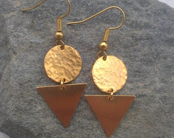 Brass tribal earrings, tribal earrings, brass earrings, geometric earrings, tribal geometric earrings, brass geometric earrings, gold tribal