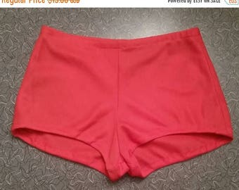 SUMMER SALE 1970's Orange Red Hot Pant Booty Shorts Size Small
