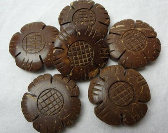 Coco Flower Beads, Natural Beads, Flower Beads, Brown Flower Beads, Tribal Beads, Jewelry Making Supplies, Free Shipping