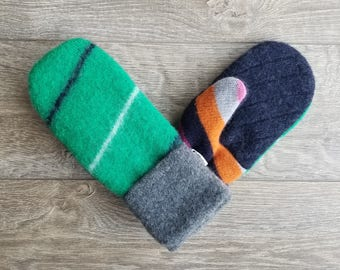 Best Wool Sweater Mittens // Womens Sweater Mittens // Fleece Lined mittens // Green Gray and Blue