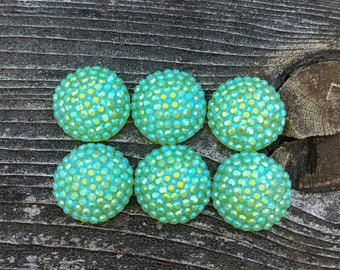 12mm Honeydew Ab Dots Resin Cabochon