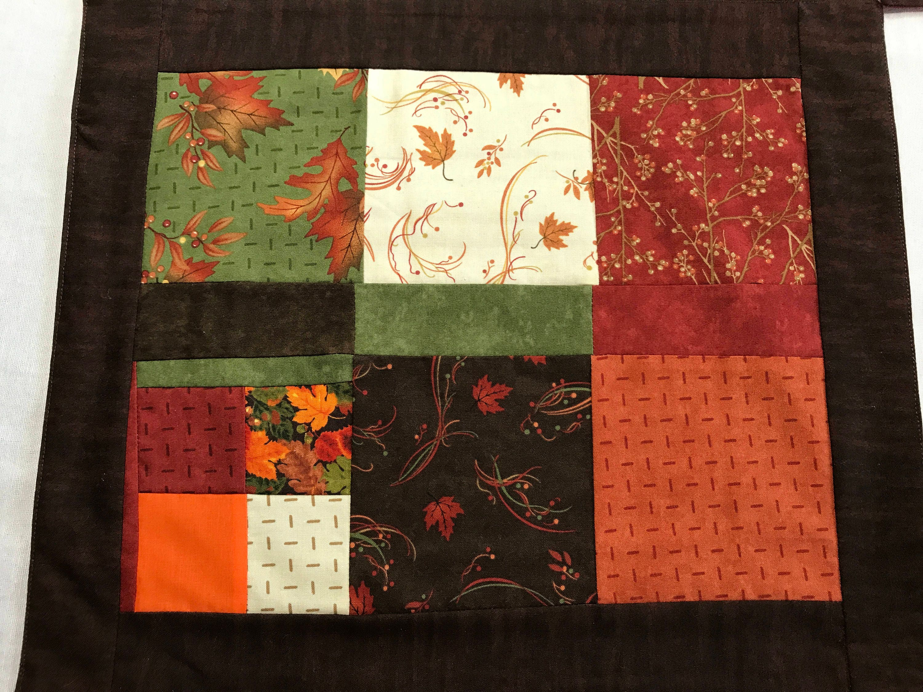 Patchwork Placemats, Falling Leaves, Fall Placemats, Square Placemats, Table  Protectors, Housewarming Gift, End Table Mats, Unique Placemats