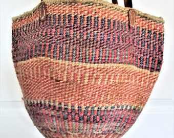 Kenya Beach Bag Boho Style Market Basket Orange Pink Stripes Leather Handles Vintage Straw Bucket Pocketbook Beach Bag Purse Accessory