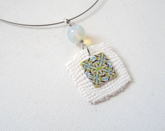 Pendant polymer kaleidoscope blue yellow and white opal highlights
