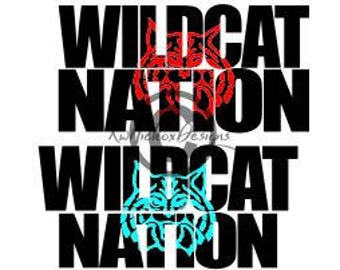 Wildcat Nation Svg, Wildcat Svg, Football Svg, Knockout Font Svg, Dxf For Cameo