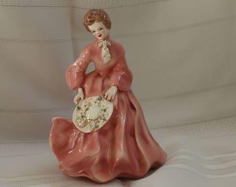 Vintage Florence Ceramics Co. Porcelain Lady in Pink Dress