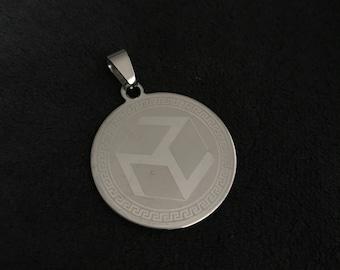 Black leather necklace. Antahkarana Medal