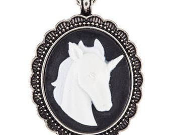 Fairy Tale Unicorn Cameo Metal Pendant