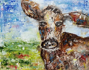 Cow painting Cow art Original oil on canvas Abstract cow painting Animal art Farm art Cow oil painting Animal painting Farm animal Cow 11x14