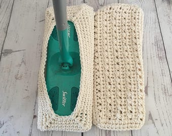 Crochet Swiffer Covers Reusable Swiffer Pads Set of 2 Off White in Color Made to Order