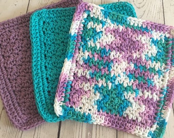 Wash Cloths Kitchen Cotton Dish Cloths Baby Cloths Crochet Wash Cloth Purple Turquoise Set of 3 Ready to Ship