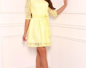 Yellow  Lace Mini Women's Dress  Round Neckline 3/4 Sleeves