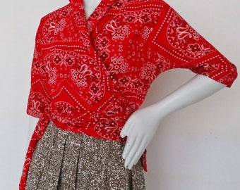 Vintage 1950s Bandana Print Wrap Top by Nita Smith