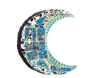 Mosaic Mermaid Moon, Mixed Media Ocean, Blue and White Beach Decor, Lunar Wall Art