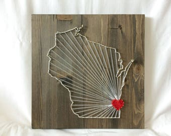 Wisconsin Any State String Art Wisconsin Wall Art Home Decor