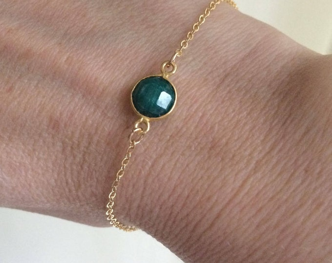 18K Gold Fill Green Emerald bracelet - tiny green gemstone - May Birthstone jewellery gift