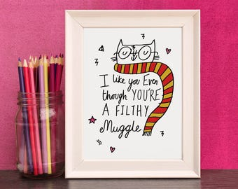 Cat Muggle Print - Free UK Delivery - Inspired By Harry Potter - A4 And A5 Print By Holly Mac Draws