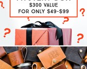 MYSTERY BOX -- HUGE Savings -- Leather Journals - Leather Passport Covers - Refillable Journals - 80% Off