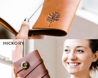50% OFF --  Personalized Leather Journal -- Oaktree - Tree Firebrand Custom Leather Refillable Handmade Portland, Oregon... Sale!