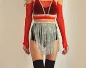 Silver rhinestone mini skirt, rave skirt, fringe skirt, festival outfit, rave costume, edm outfit, rave outfit, rave bottoms, edm skirt, edc